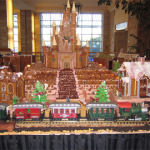 Forty foot Life size Gingerbread train village working and moving to Santa's songs