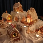 Gingerbread snow village Colorado Denver churches and steeples