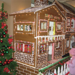 Life size Gingerbread village for kids to taste and eat ten feet long